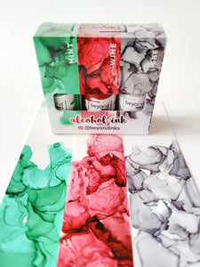 Alcohol Ink Pack #9 -  Mint, Wine & Grey