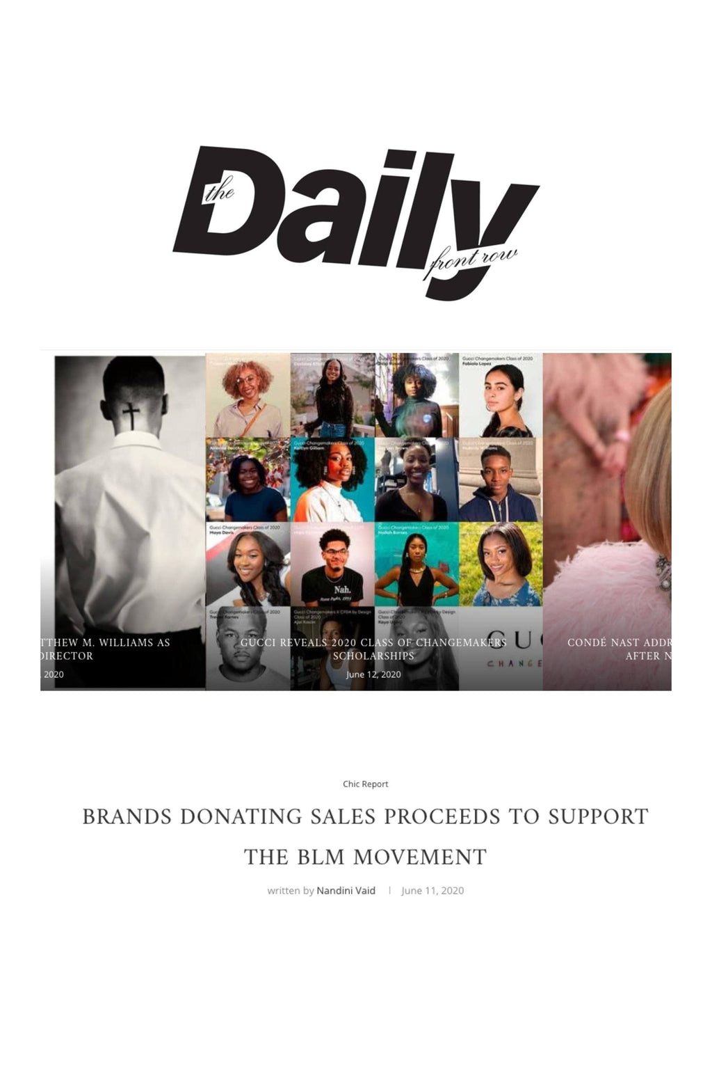 DAILY FRONT ROW: BRANDS DONATING SALES PROCEEDS TO SUPPORT THE BLM MOVEMENT