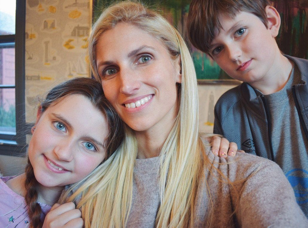 Designer, Haverhill Leach at home with her two kids