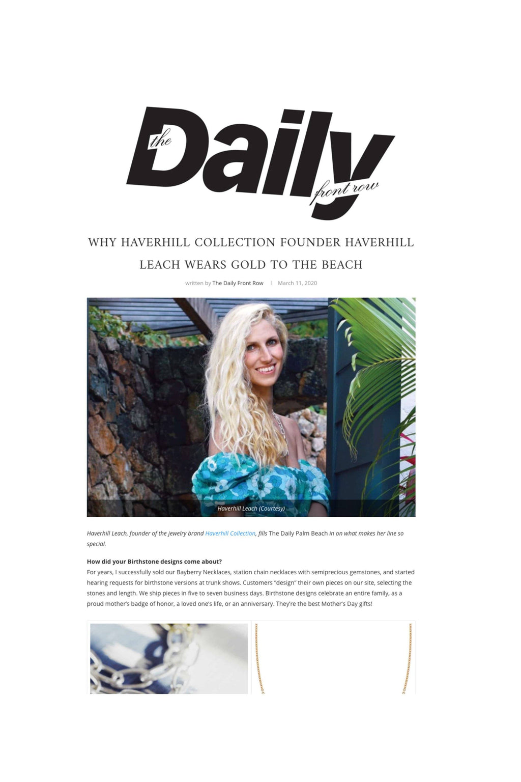 Daily Front Row: WHY HAVERHILL COLLECTION FOUNDER HAVERHILL LEACH WEARS GOLD TO THE BEACH