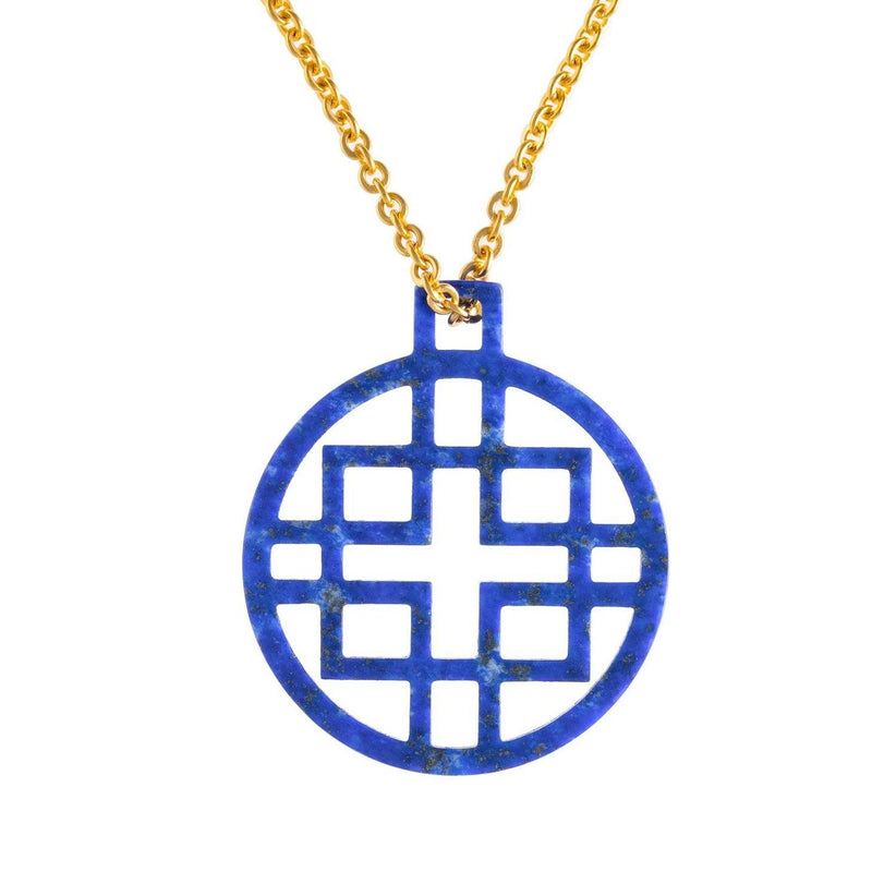 Devon Pendant with Lapis with Gold Chain