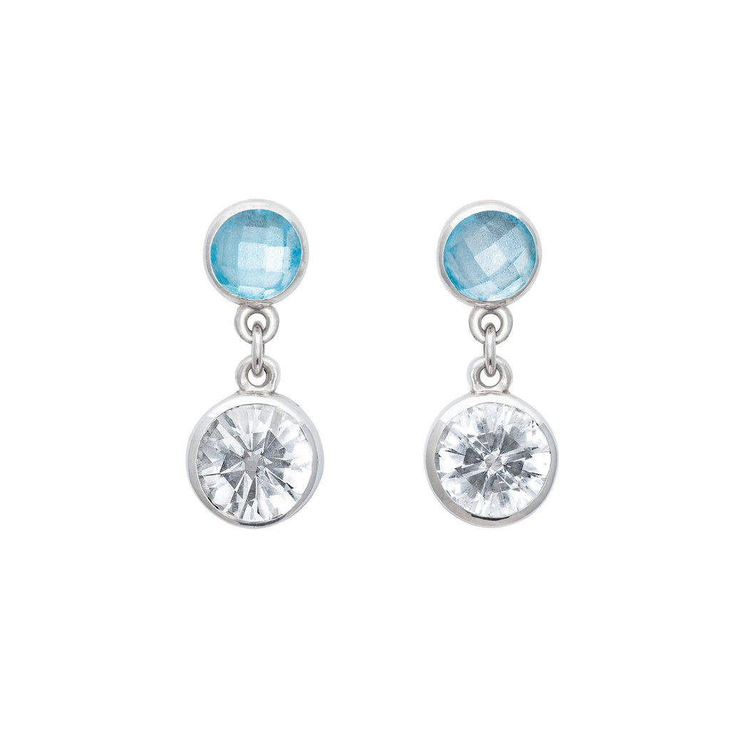 Lang Double Dot Earrings in White Quartz & Swiss Blue Topaz