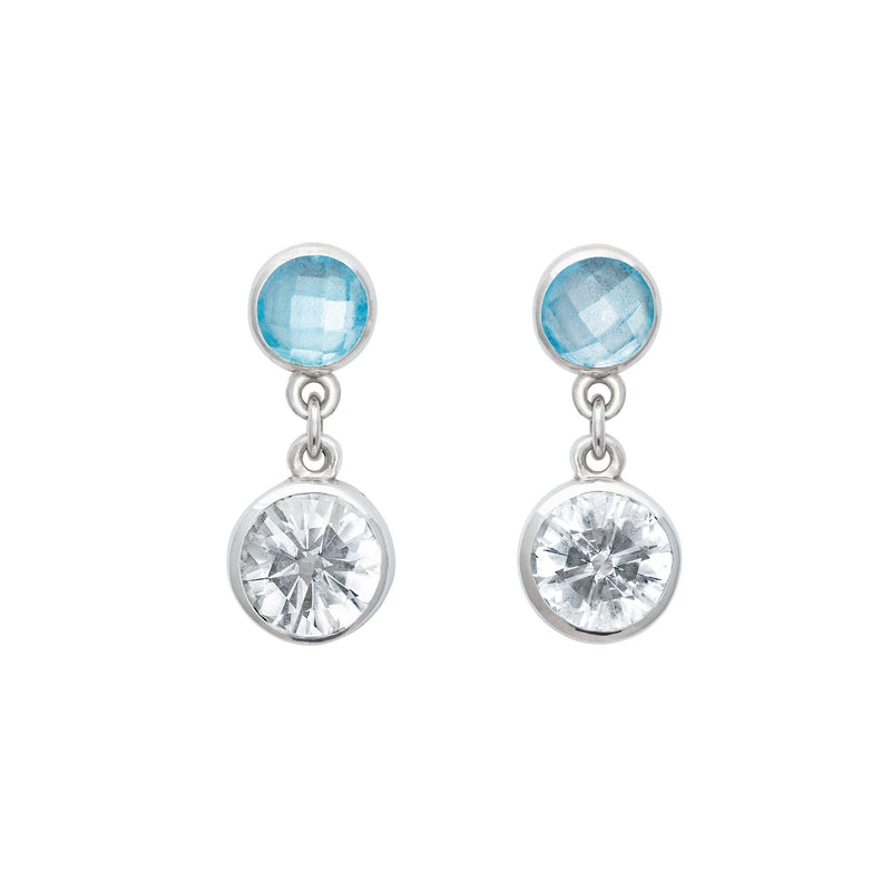 Lang Double Dot Earrings in White Quartz & Nantucket Blue Topaz