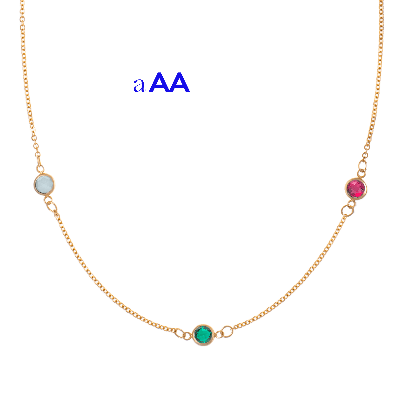 Personalized Birthstone Necklace - 3 genuine Gemstones and 14k Gold