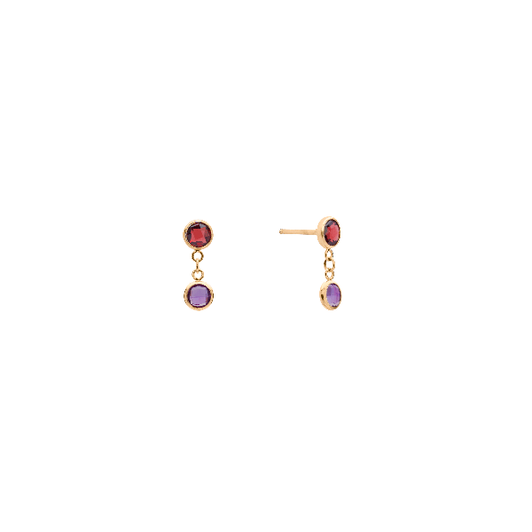 Personalized 2 Stone Birthstone Earrings 14k Gold
