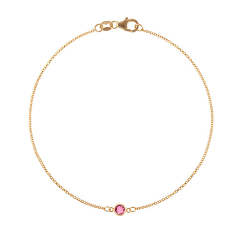 Solitaire Birthstone Bracelet in 14k Gold with Garnet (January)