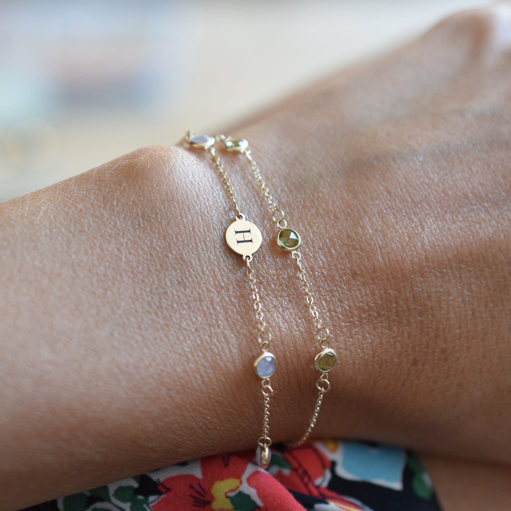 Personalized 1 Letter and 4 Birthstone Bracelet 14k Gold