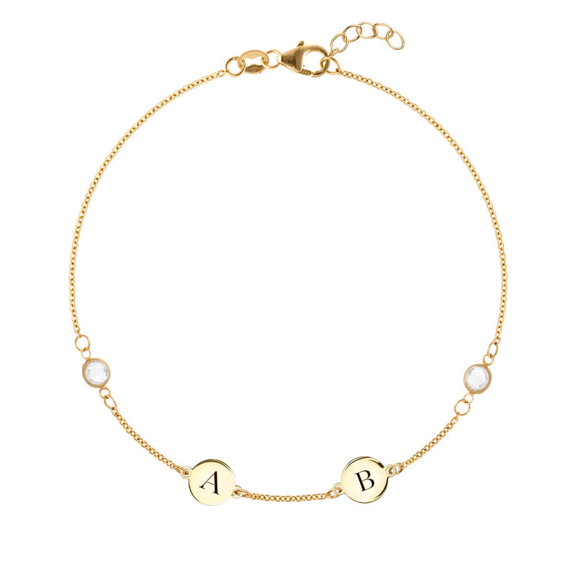 Personalized 2 Letter and 2 Stone Bracelet 14k Gold