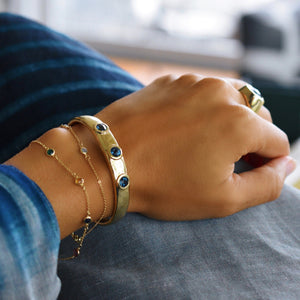 Charley Cuff in 14k Gold with Stones in London Blue Topaz