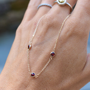 All Garnet (January) 3 Stone Birthstone Necklace 14k Gold