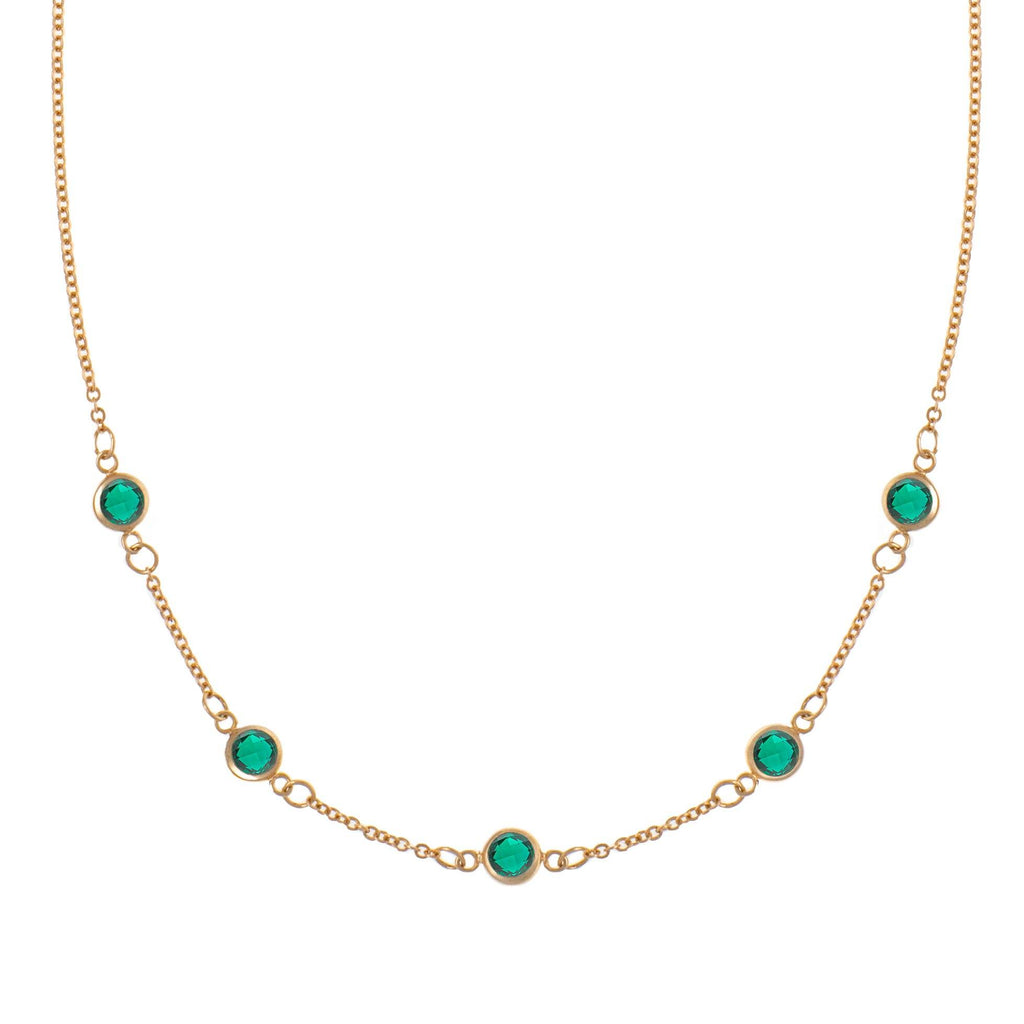 5 Stone Birthstone Necklace 14k Gold with Emerald