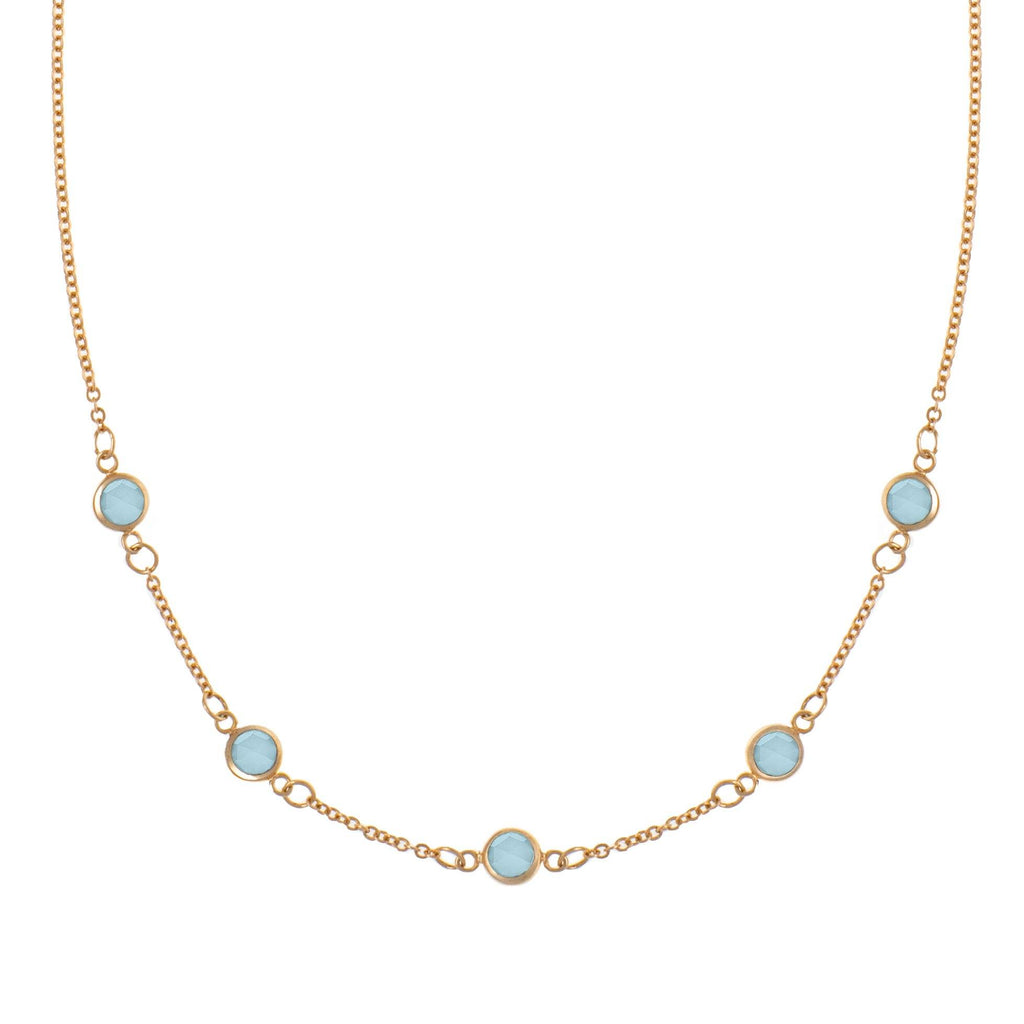 5 Stone Birthstone Necklace 14k Gold with Milky Aquamarine