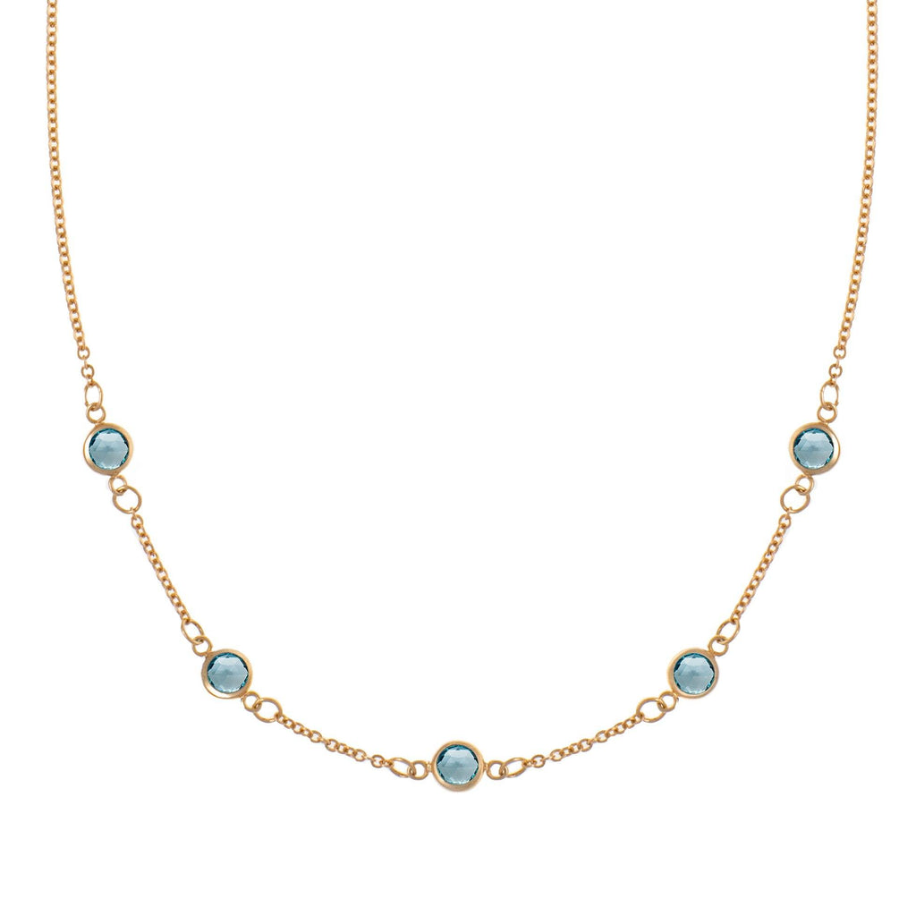 5 Stone Birthstone Necklace 14k Gold with Nantucket Blue Topaz