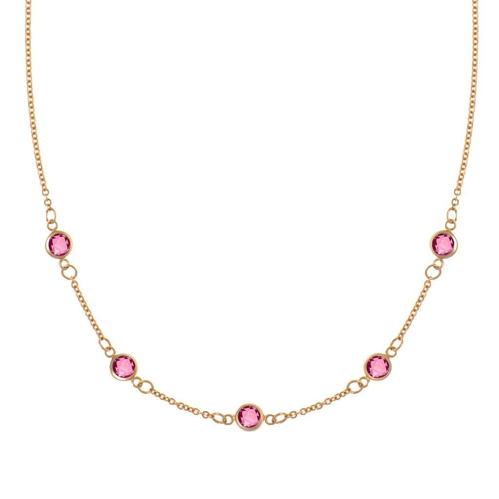Pink Awareness Necklace - 5 Stones