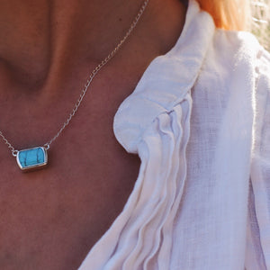 Ventana Solitaire Necklace in Turquoise
