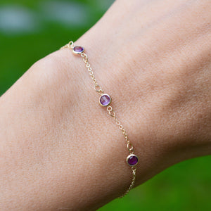 All Amethyst (February) 3 Stone Birthstone Bracelet 14k Gold
