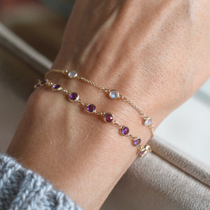 Newport Bracelet 14k Gold with Amethyst (February)