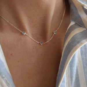 Ardsley Necklace in Silver with Milky Aquamarine (March)
