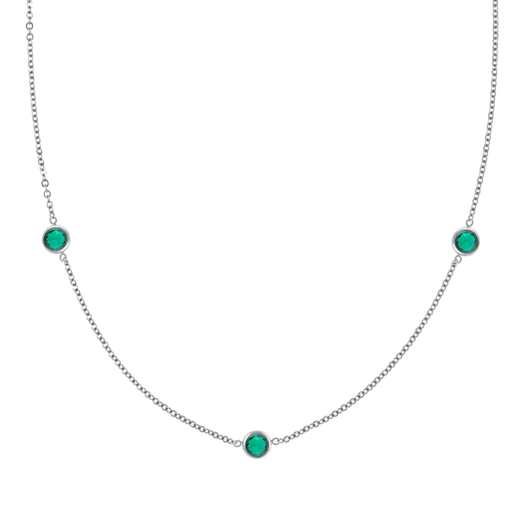 Ardsley Necklace in Silver with Emerald (May)