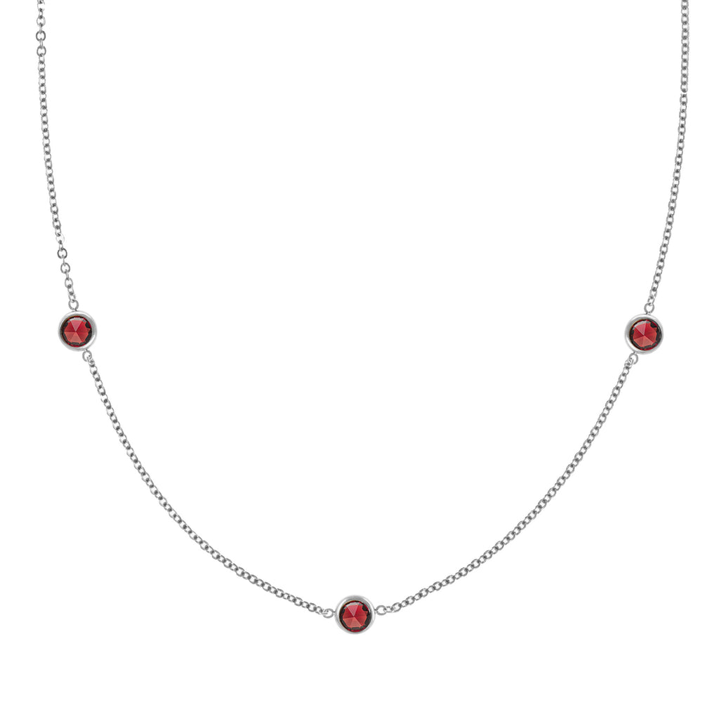 Ardsley Necklace in Silver with Garnet (January)