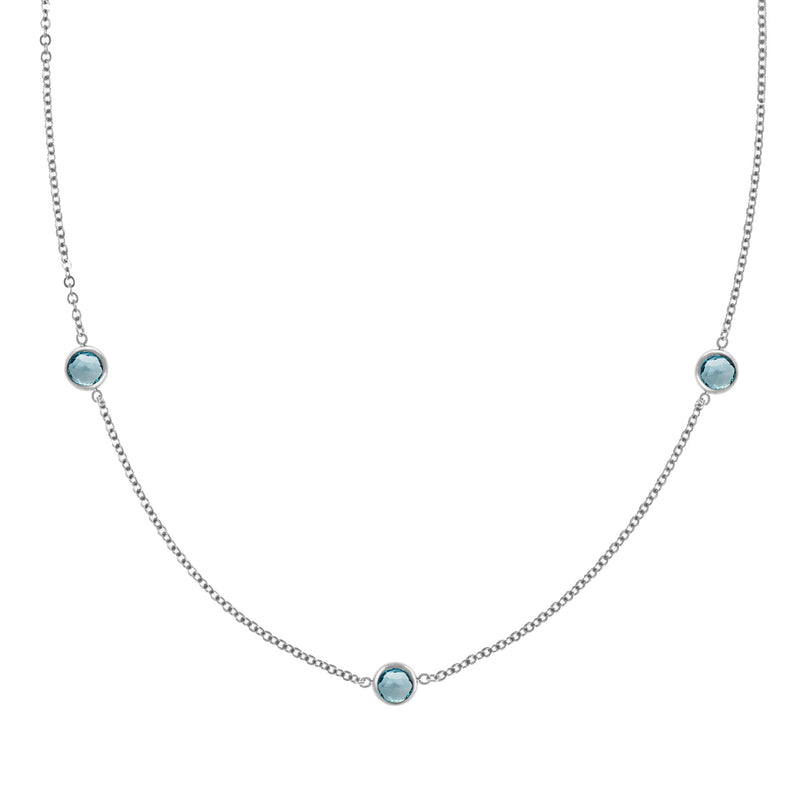 Ardsley Necklace in Silver with Nantucket Blue Topaz (December)