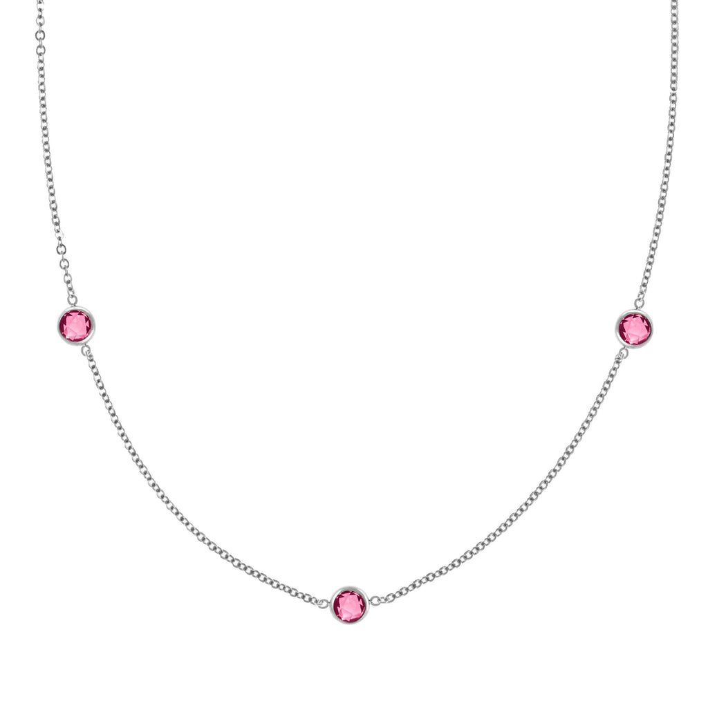 Ardsley Necklace in Silver with Pink Tourmaline (October)