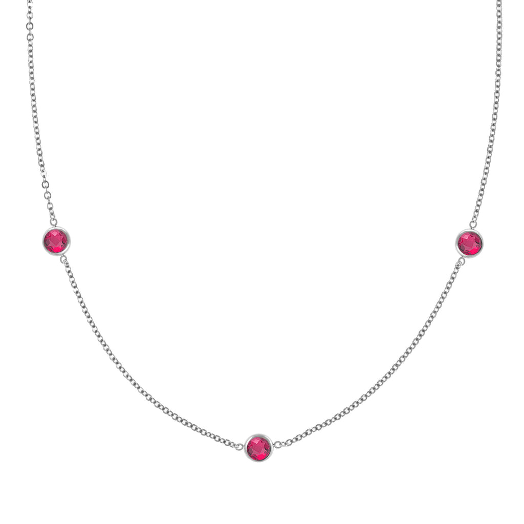 Ardsley Necklace in Silver with Ruby (July)