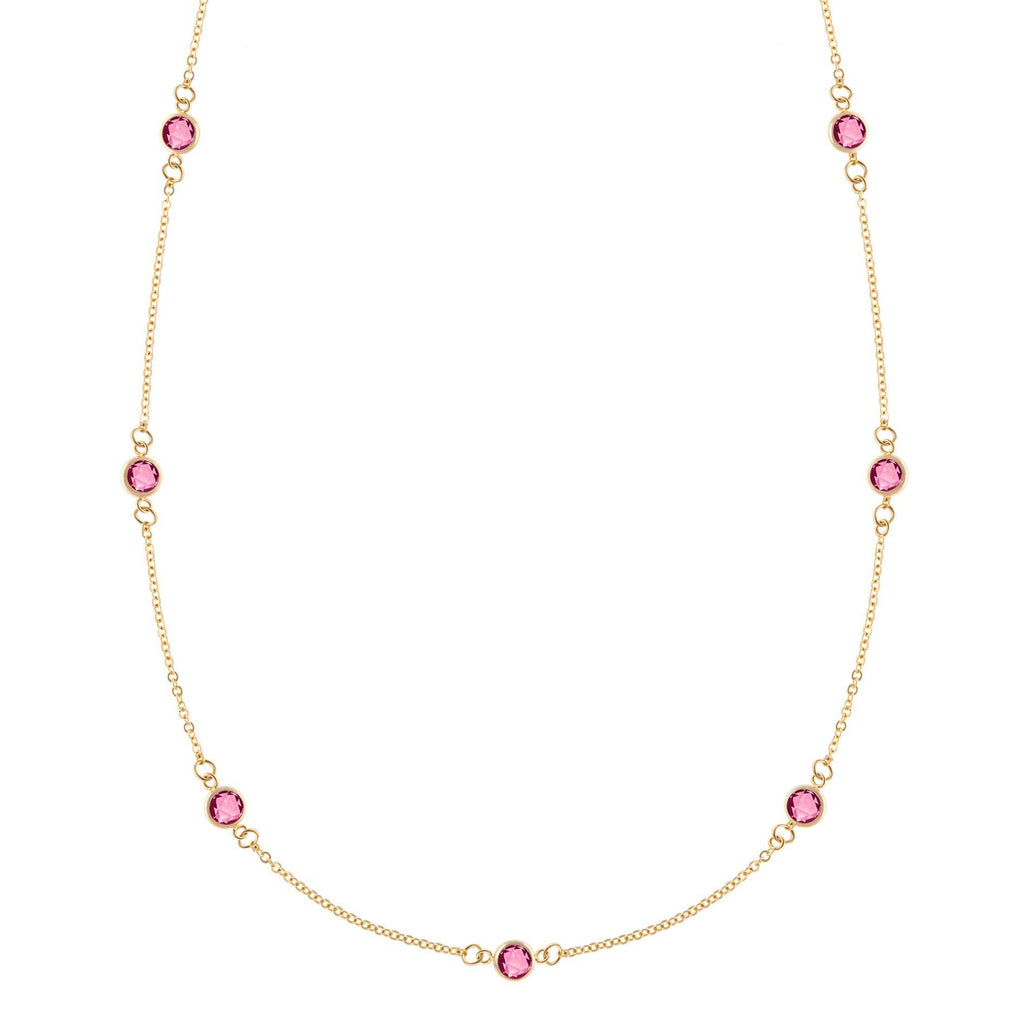Pink Awareness Bayberry Necklace in 14k Gold with Pink Tourmaline (October)