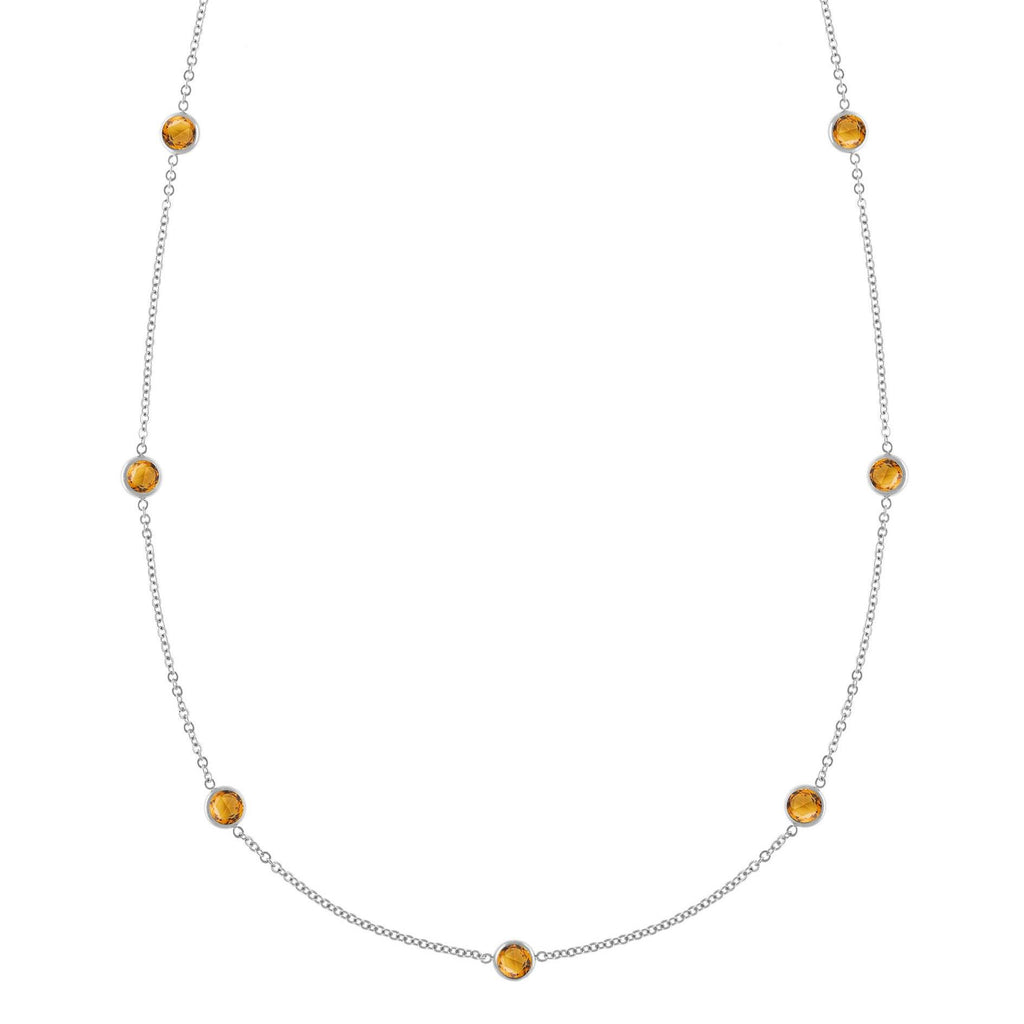 Bayberry Necklace in Silver with Citrine (November)