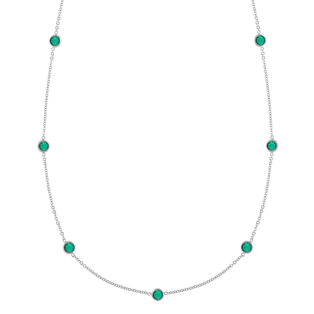 Bayberry Necklace in Silver with Emerald (May)