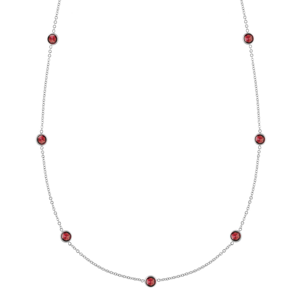 Bayberry Necklace in Silver with Garnet (January)