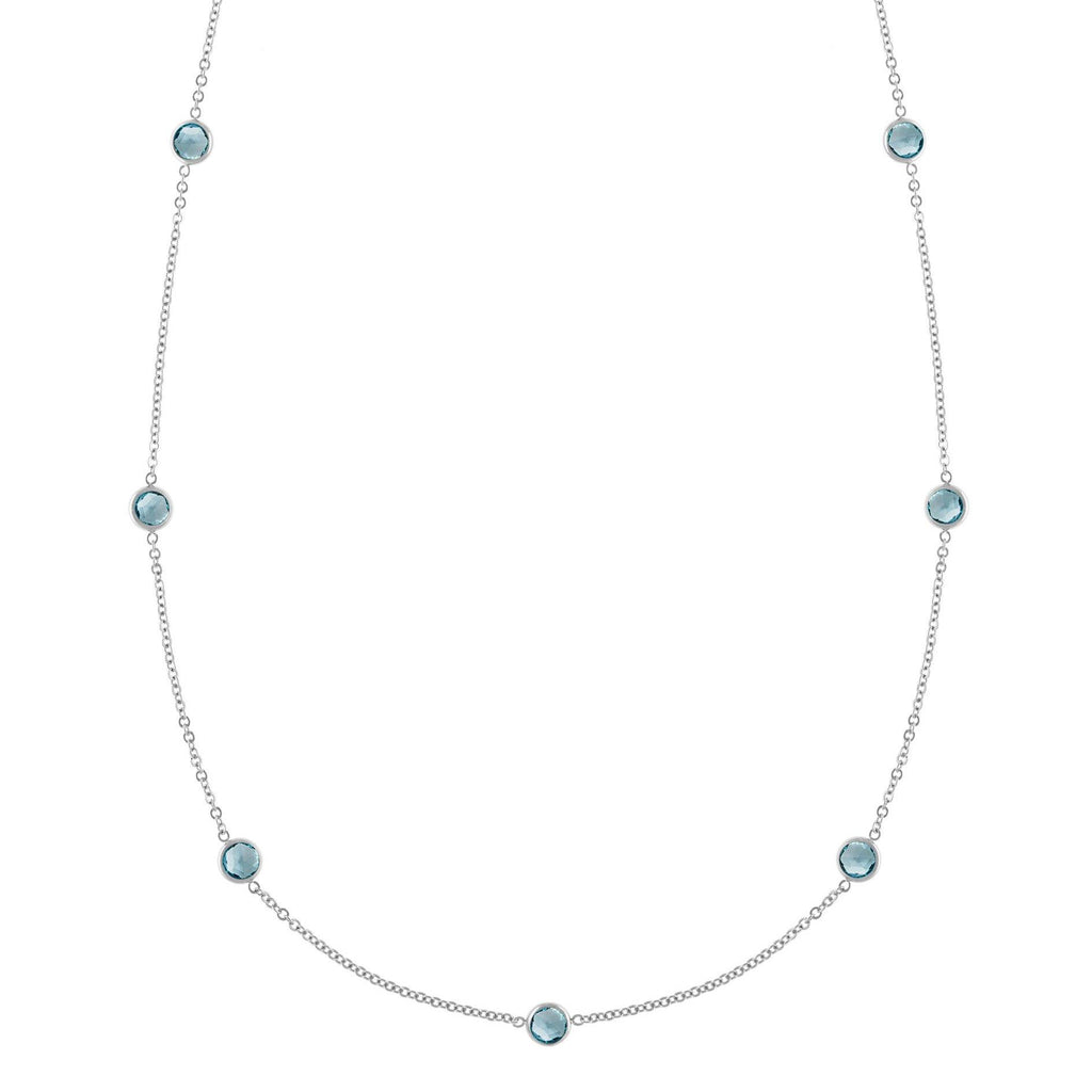 Bayberry Necklace in Silver with Nantucket Blue Topaz (December)