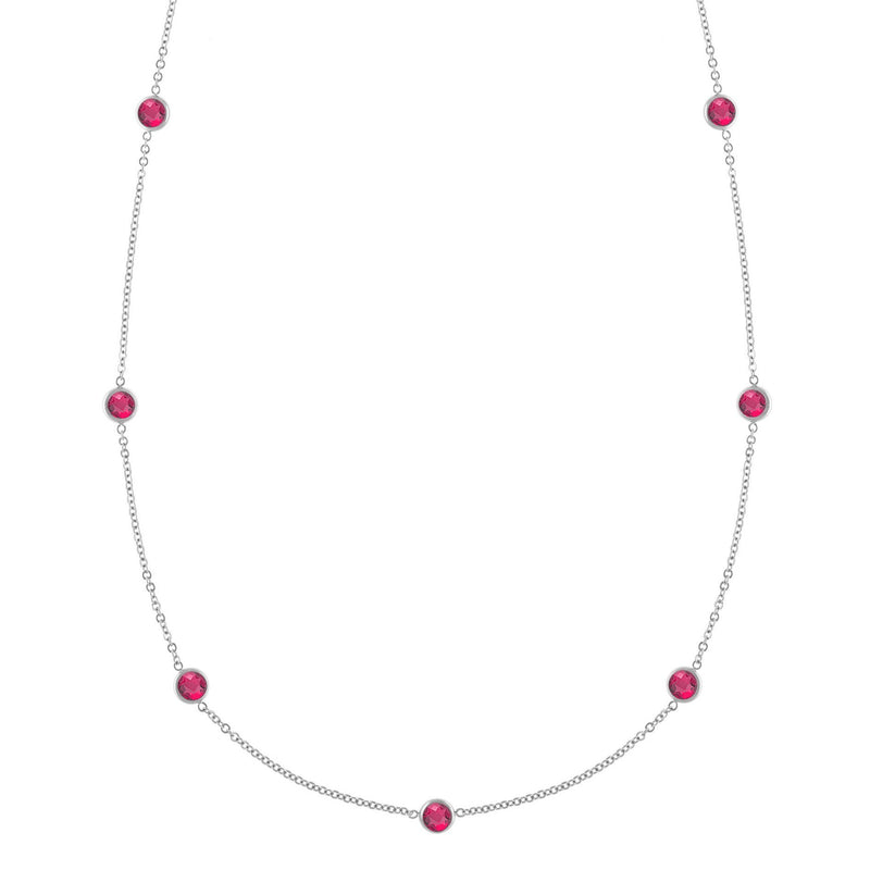 Bayberry Necklace in Silver with Ruby (July)