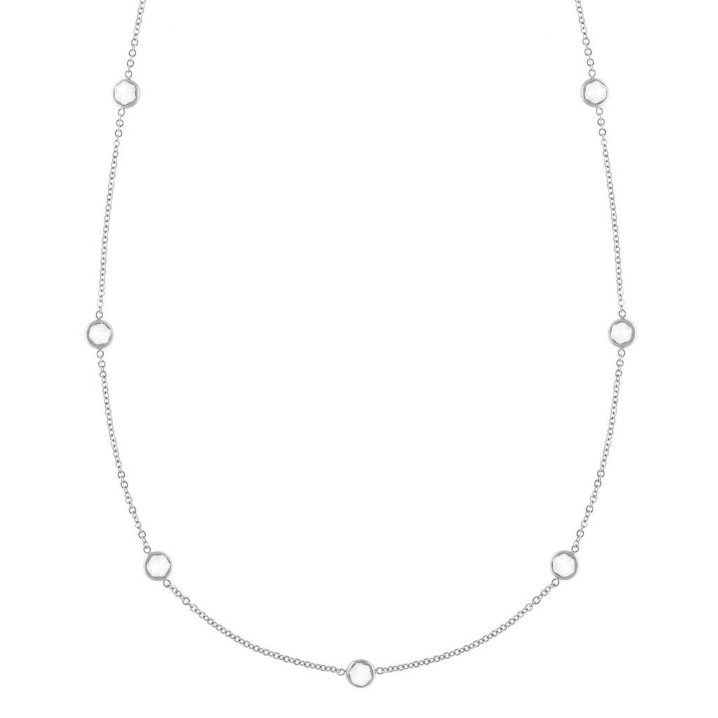 Bayberry Necklace in Silver with White Topaz (April)