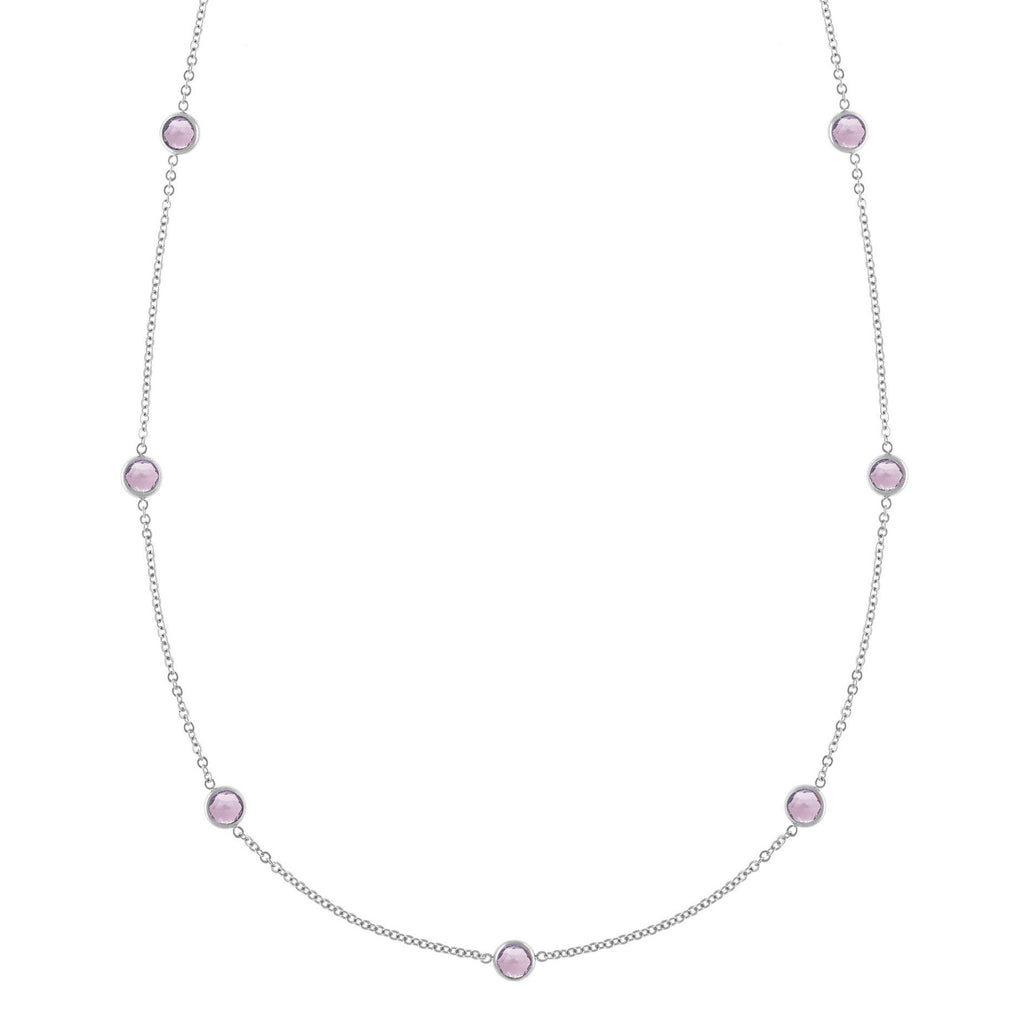 Bayberry Necklace in Silver with Rose de France