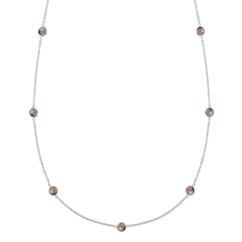 Bayberry Necklace in Silver with Smoky Quartz
