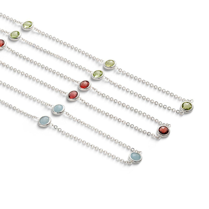 Bayberry Necklace in Silver with Garnet