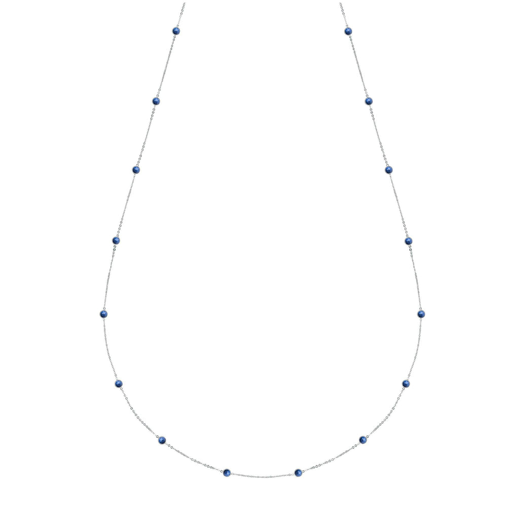 "Bayberry Necklace 34"" in Silver with Lapis"