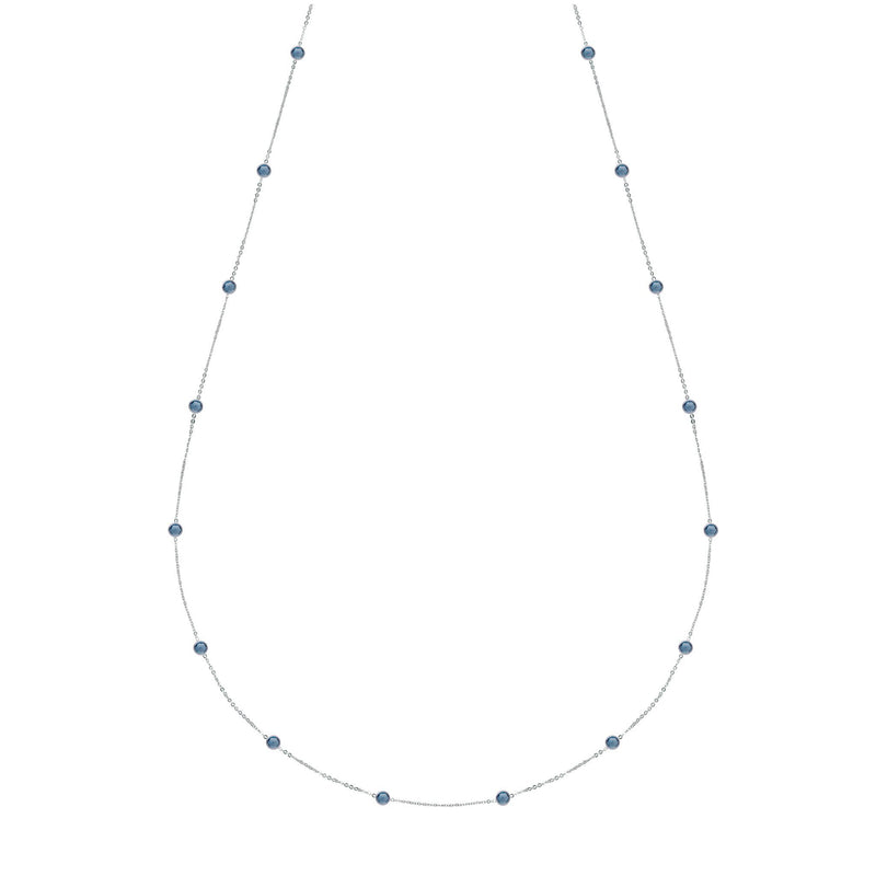 "Bayberry Necklace 34"" in Silver with London Blue Topaz"