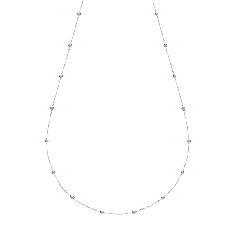 "Bayberry Necklace 34"" in Silver with Nantucket Blue Topaz"
