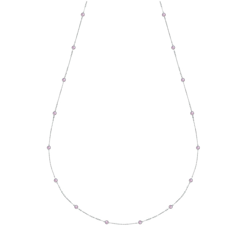 "Bayberry Necklace 34"" in Silver with Rose de France"