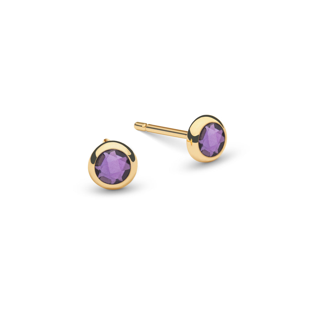 Single Birthstone Stud 14k Yellow Gold with Amethyst (February)
