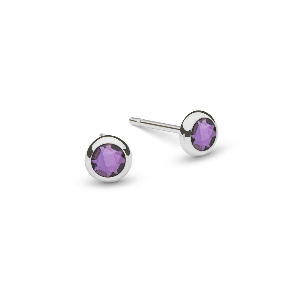 Birthstone Studs 14k White Gold with Amethyst (February)
