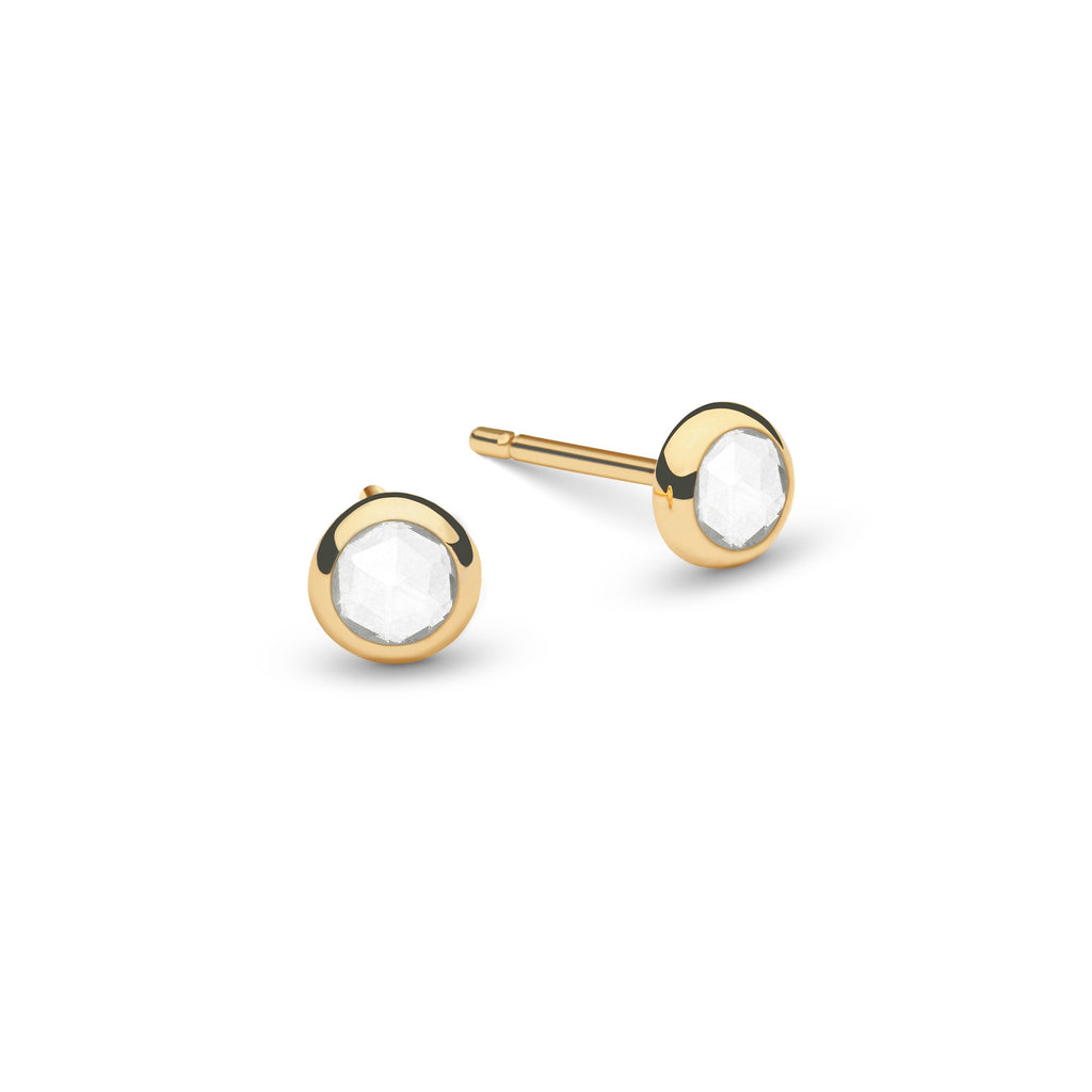 Birthstone Studs 14k Yellow Gold with White Topaz (April)