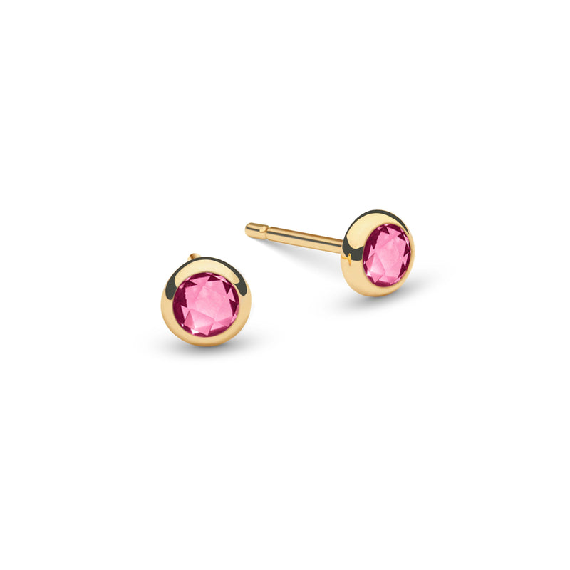Pink Awareness Birthstone Studs 14k Yellow Gold