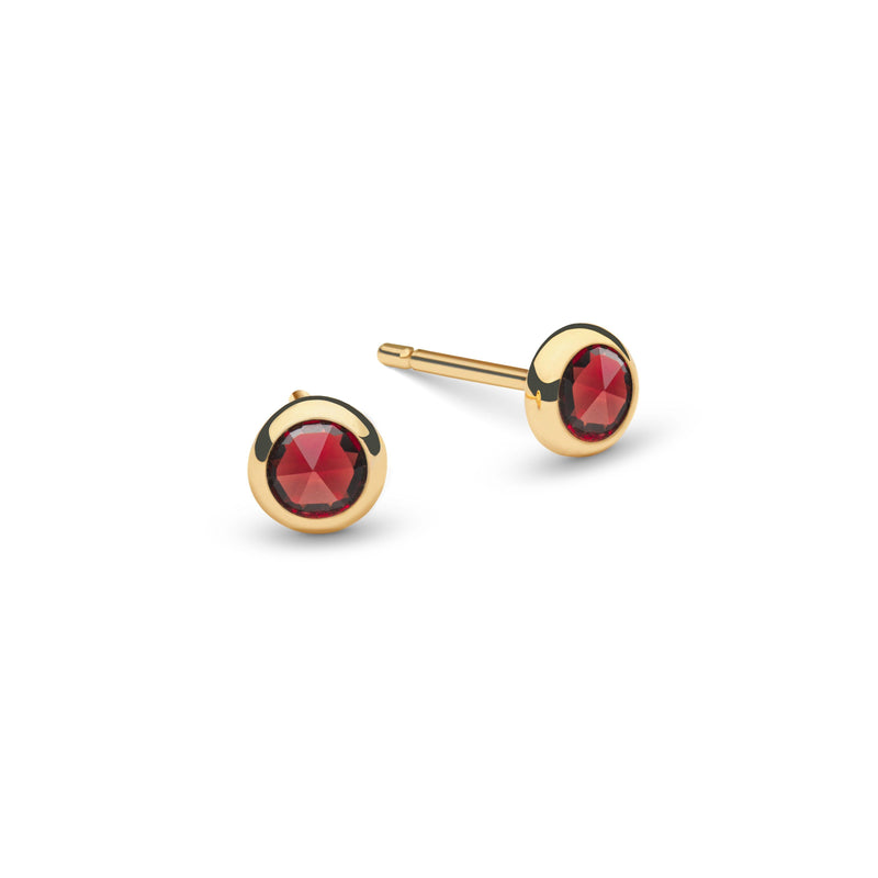 Birthstone Studs 14k Gold with Garnet (January)