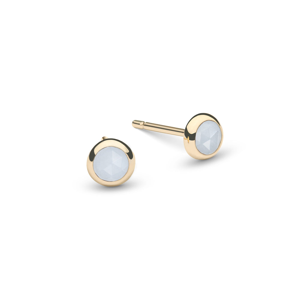Birthstone Studs 14k Yellow Gold with Milky Aquamarine (March)