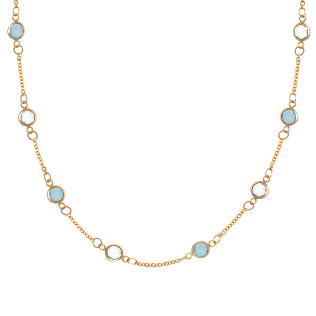 Cloudscape Necklace with Milky Aquamarine and White Topaz