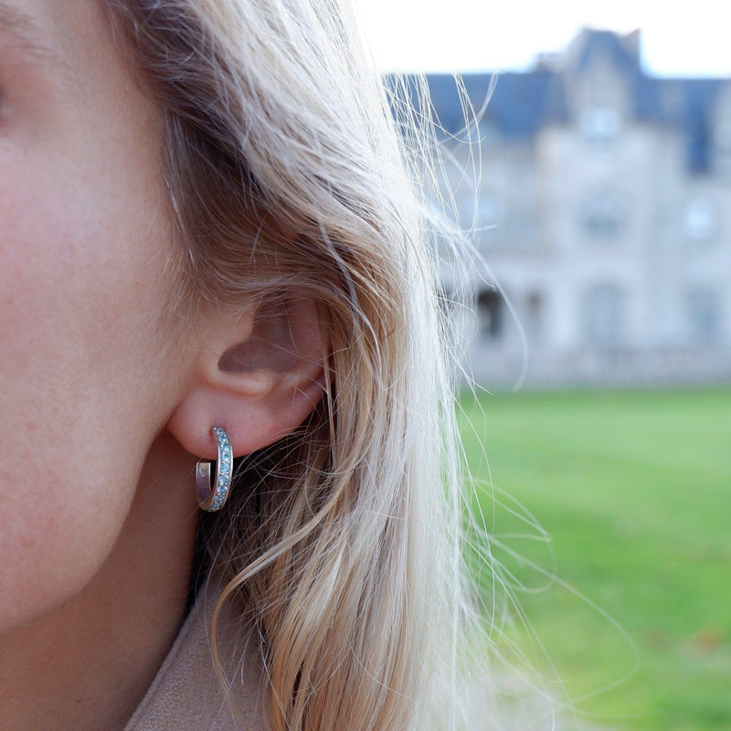 Helena Hoops Earrings with 14k Posts in Swiss Blue Topaz