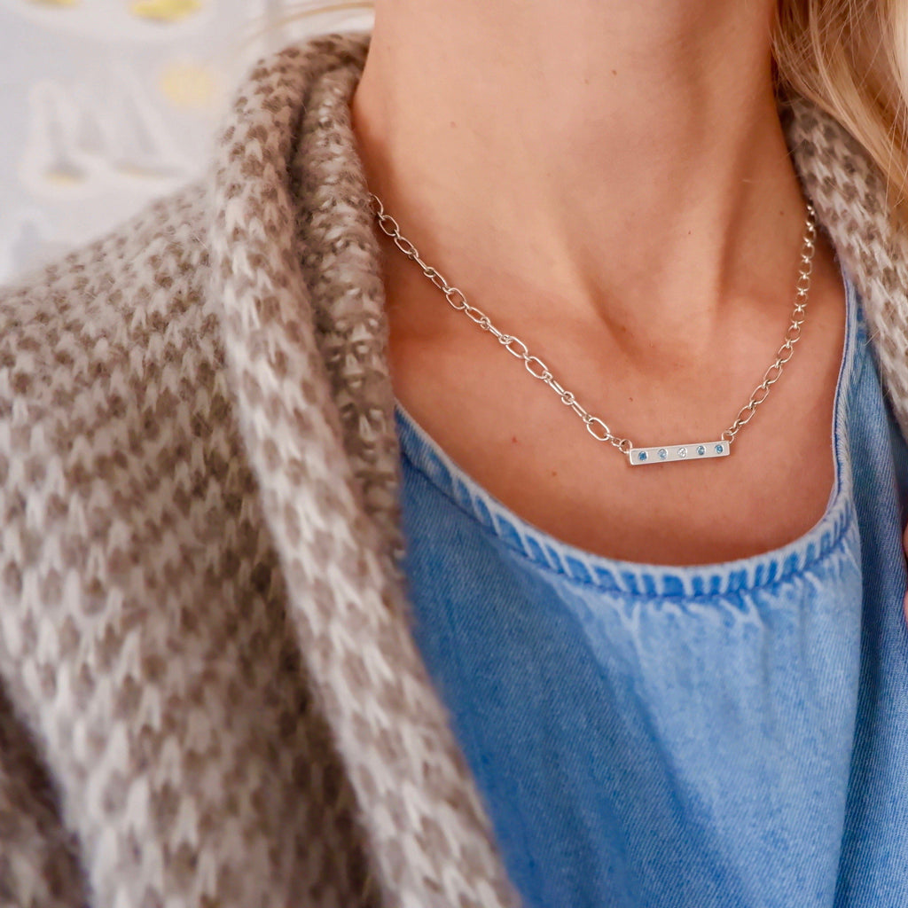 Lee Necklace with Stones in London, Nantucket, Sky Quartz